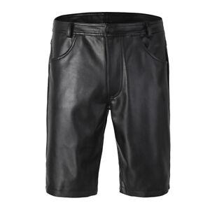 Herren-Kunstleder-Bermudas-Shorts-Wetlook-Kurze-Hose-Ultrabequem-Pants-Schwarz