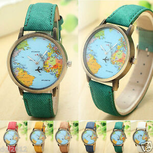 Fashion-Global-Travel-By-Plane-Map-Women-Watches-Denim-Fabric-Band-Quartz-Watch