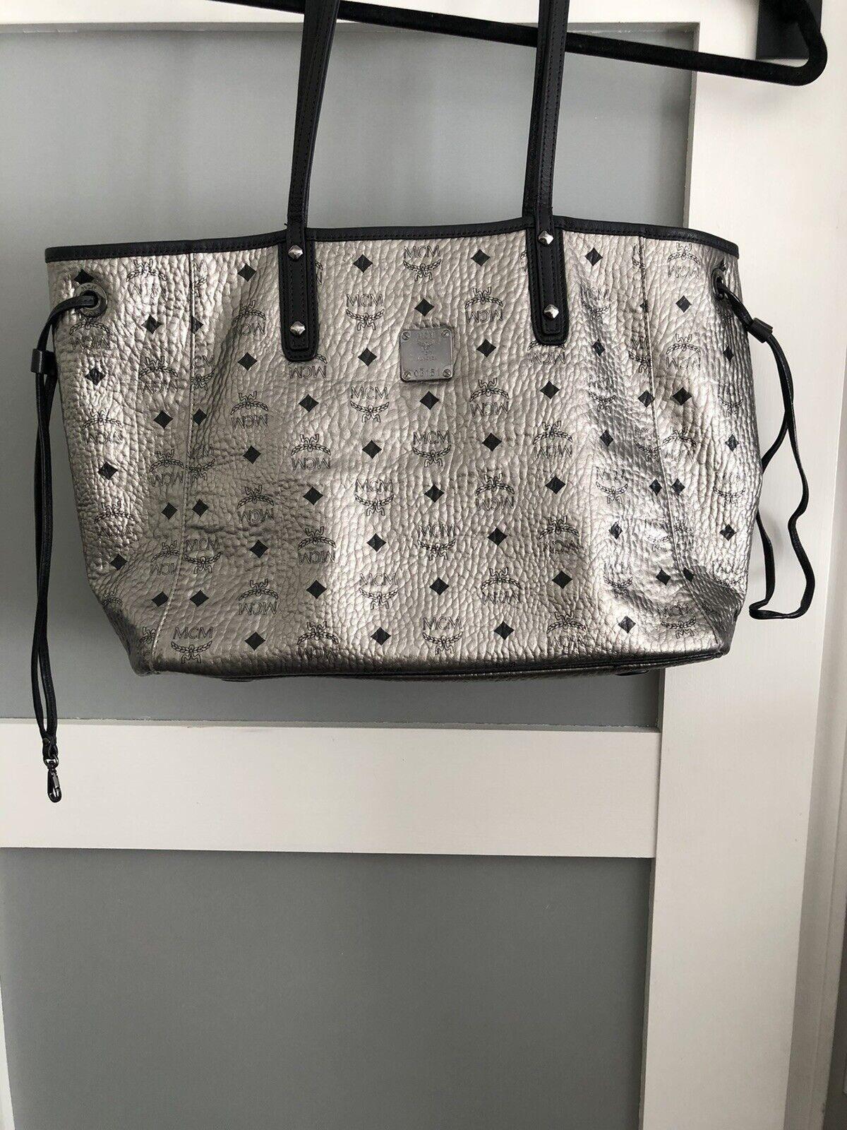 MCM Liz Reversible Shopper Handbag- Silver with Matching Pouchette