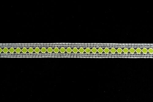 10 metres × 40mm White /& Lime Diamond Patterned Crochet Cotton Lace Trim Vintage