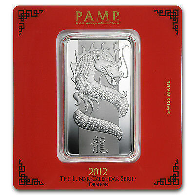 100 gram Pamp Suisse Silver Bar - Year of the Dragon (In Assay)
