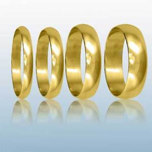 9ct-Yellow-Gold-Wedding-Rings-D-Shaped-Hallmarked-Band