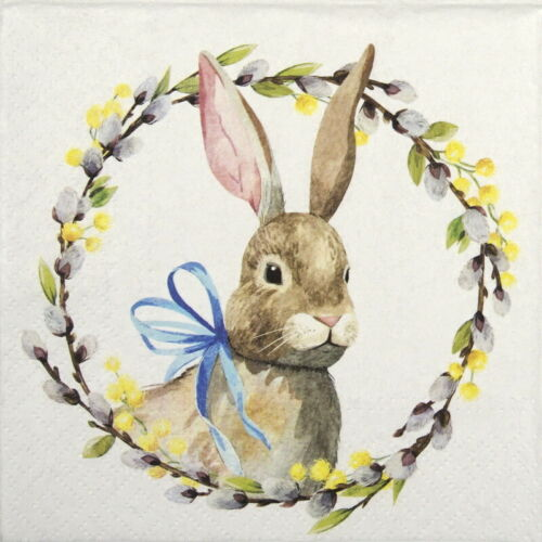 Rabbit with Catkins 4x Paper Napkins for Decoupage Decopatch Craft