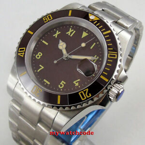 40mm-bliger-black-California-dial-coffee-dial-ceramic-bezel-Automatic-mens-Watch