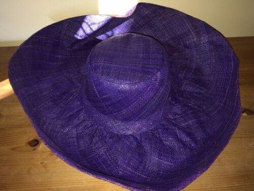 Joules paille chapeau de soleil taille unique Bleu Violet UK Gratuit p/&p