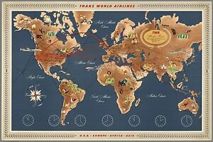 1957 map Trans World Airlines TWA Routes USA Europe Africa Asia POSTER 8940