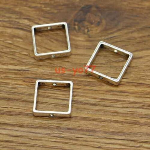 20 Square Beads Spacer Connector Link Charms Antique Silver Tone 15x15 3034