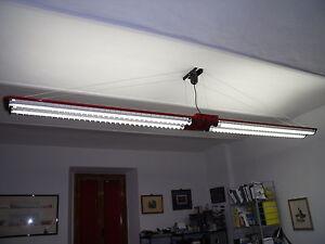 Plafoniere Per Lampade Fluorescenti : Plafoniere in acciaio con lampada fluorescente due pezzi ebay
