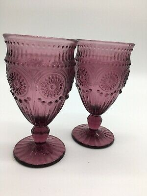 Pioneer Woman Clear Adeline Embossed 12-Ounce Footed Glass Goblets Set Lot of 4