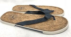 fc7c995d9fe Details about UGG Australia Bennison II Cork Leather Flip Flops Navy Blue  1007879 Men's Shoes