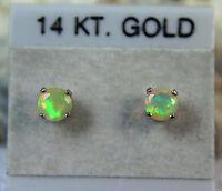 Opal - 14k Gold Petite Genuine Ethiopian Play-of-color Stud Earrings 0.29ctw