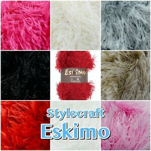 Stylecraft-Eskimo-DK-Fluffy-Furry-Soft-Eyelash-Knitting-Wool-Yarn-50g-Ball