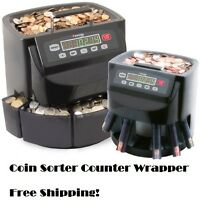 Coin Counter Sorter Digital Machine Commercial Money Change Wrapper Automatic