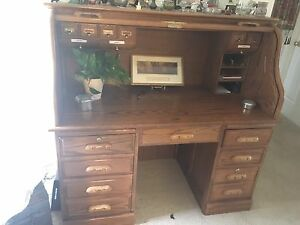 Oak Antique Roll Top Desk Ebay