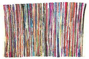 Tappeti In Tessuto Riciclato : Mano indiano intrecciato pesante tappeto di stracci tappetino