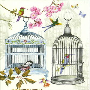 4x-Single-Lunch-Party-Paper-Napkins-for-Decoupage-Craft-Vintage-Birdcages