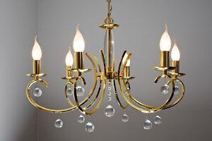 Lampade In Vetro A Sospensione : Chandelier 6 luci classico lampada da soffitto sospensione ottone