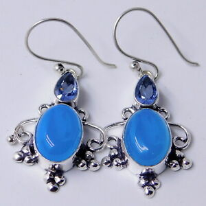 Chalcedony-Tanzanite-925-Sterling-Silver-Plated-Handmade-Jewelry-Earring-8-Gm
