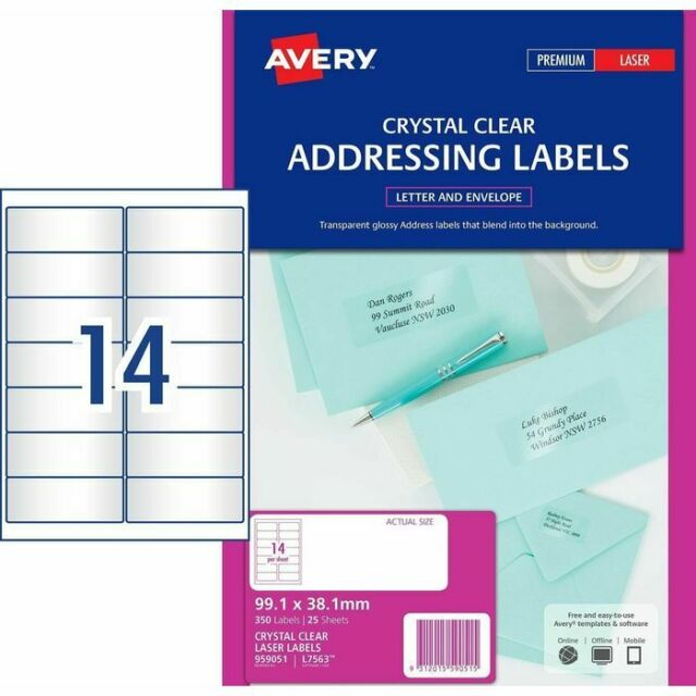 Avery 959051 Laser Clear Address Labels L7563 14 per Sheet 25 Sheets 14 UP