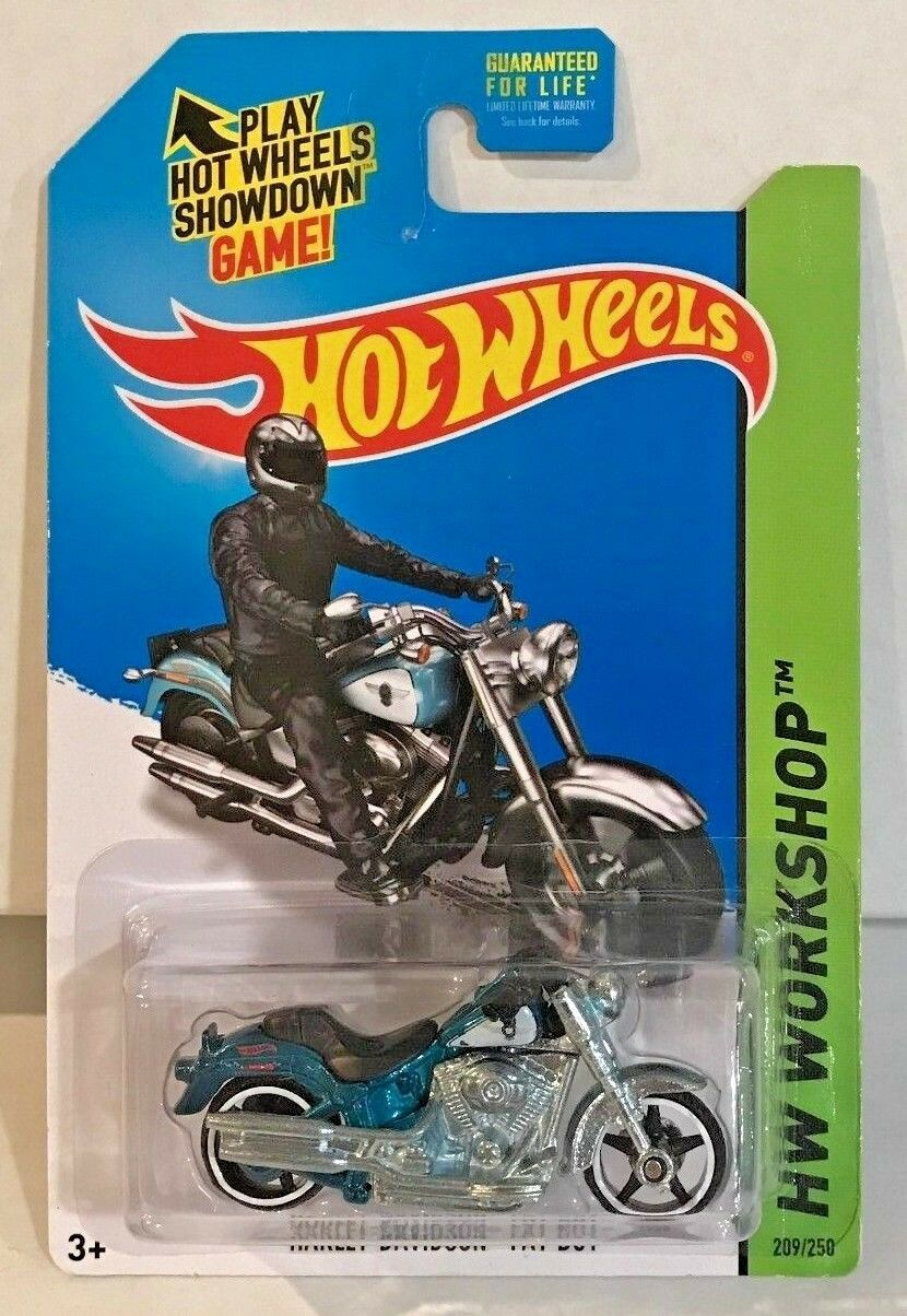 Hot Hot Hot Wheels 2014 Super Treasure Hunt - Harley Davidson Fat Boy w Real Riders RR 83f83d