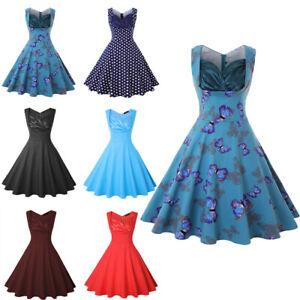 Women-Retro-A-Line-Sleeveless-Prom-Party-Cocktail-V-Neck-Rockabilly-Swing-Dress