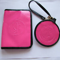 Juicy Couture shiny solid pink black beach passport holder case & luggage tag