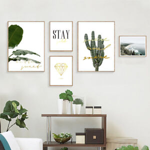 Plant-Leaf-Cactus-Nature-Poster-Nordic-Style-Wall-Art-Canvas-Print-Room-Decor