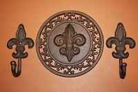 (6) Fleur De Lis Wall Hook Set, Vintage-look, Saints Wall Hooks,cast Iron 2 Sets