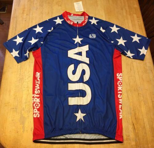 NEW RARE Mens Allen Sportswear USA F*CK YEAH Short Sleeve Cycling Jersey 2XL