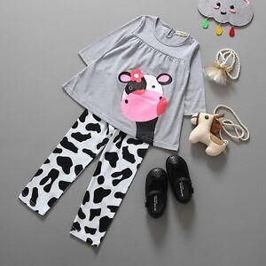 369037a4526ad2 Das Bild wird geladen Baby-Kinder-Bekleidung-Set -Geschenk-Kuh-Tiere-Maedchen-