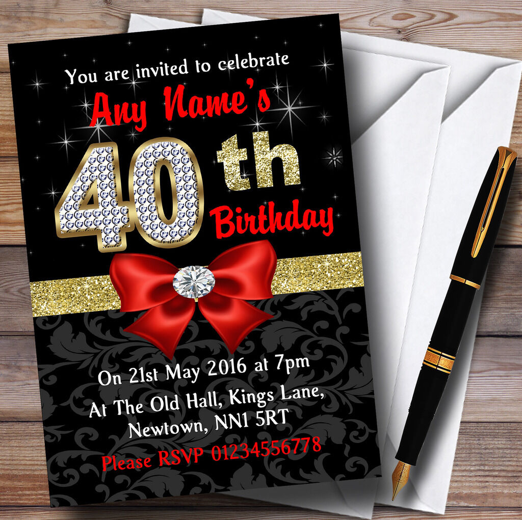 Rouge noir or diaFemmets 40e anniversaire party invitations personnalisées personnalisées personnalisées a9b4a1