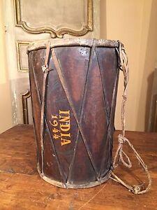 Antique-WWII-Drum-INDIA-WARS-Army-Soldier-Battle-Drum-1944-Museum-Piece-RARE