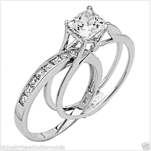2-Ct-Princess-Cut-2-Piece-Engagement-Wedding-Ring-Band-Set-Solid-14K-White-Gold