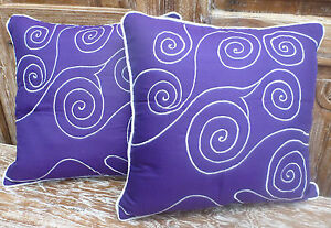 Cotton-Cushion-Covers-Purple-White-Hand-Made-Swirl-Embroidery-pair-40cm