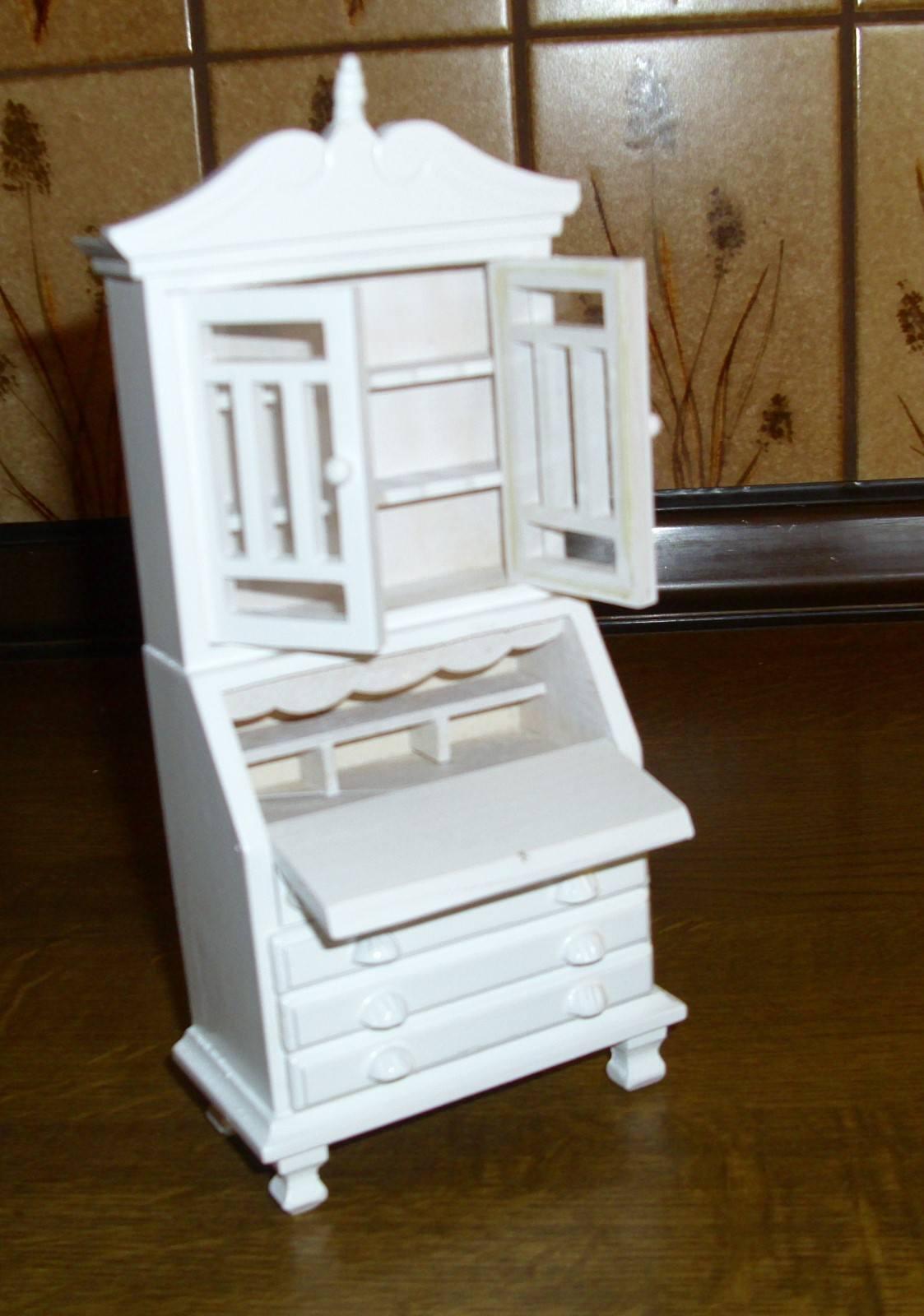 Bellissimo ARMADIO segretario in bianco, bianco, bianco, 1 12, in miniatura casa delle bambole 564b53