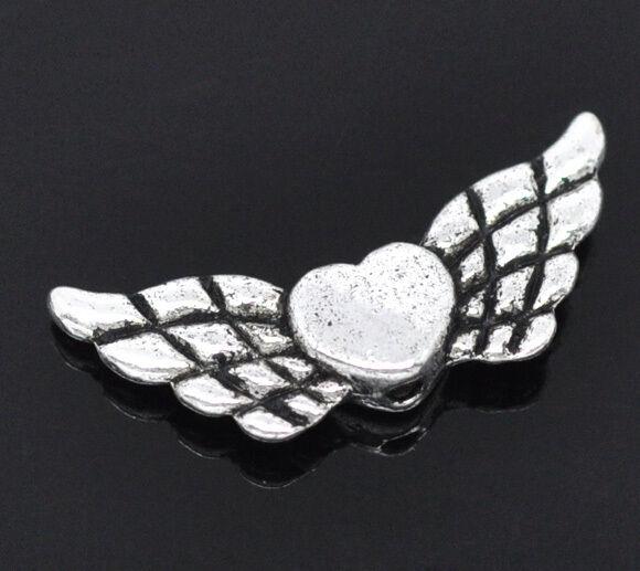 Großverkauf Antiksilber Herz & Flügel Spacer Perlen Beads 22x9mm