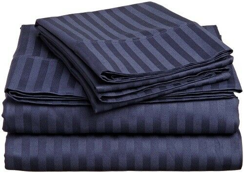 Bed 4 PCs Sheet Set Navy blueeeee Stripe  800 Thread Count 100% Egyptian Cotton USA