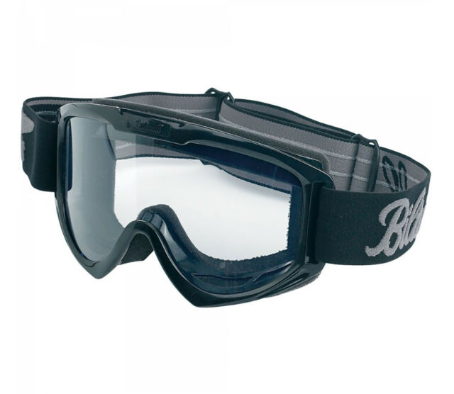 ✴ Biltwell Moto Motorcycle Goggles • Black With Clear Lens • MG-BLK-00-BK ✴