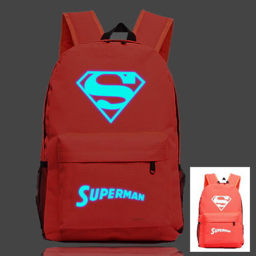 Night Luminous Backpack Superman Batman Print Schoolbag Rucksack Boys Girls Bag
