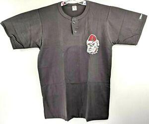 Vintage-Georgia-Bulldogs-Logo-Wilson-Hombre-XL-Henley-Camiseta-Negro-Nuevo-90s