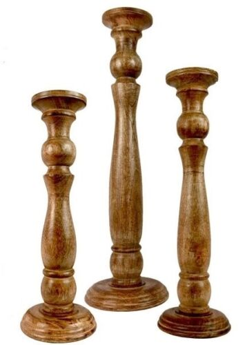 Candle Holders Set of 3 Tall staggered hand carved Hardwood dark Candlesticks