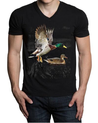 New Wilderness Ducks Men/'s Black V-Neck T Shirt Animal Wildlife Hunting Game