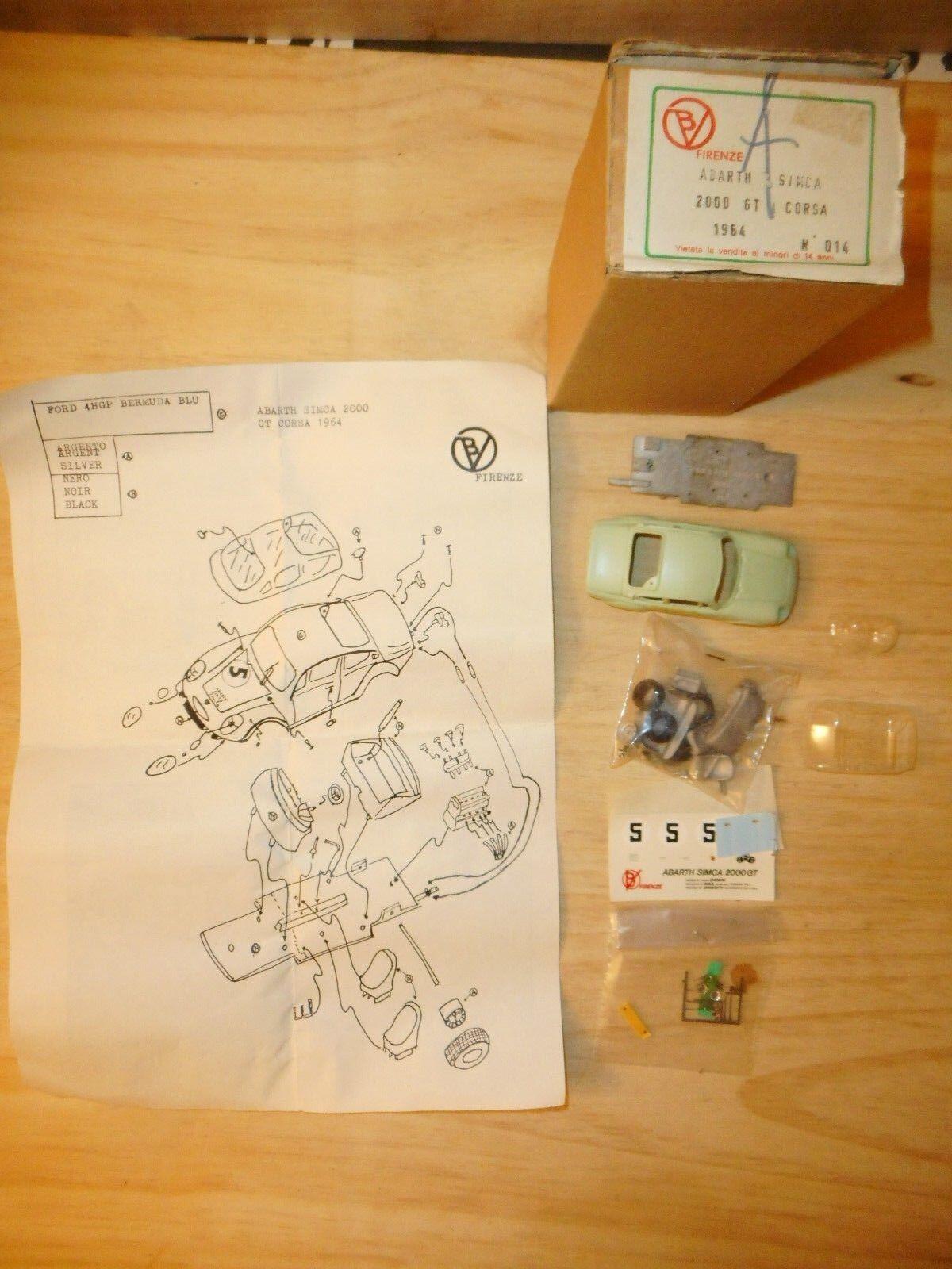 V b firenze barth simca 2000 gt corsa 1964 vintage  kit 1 43  prix plancher