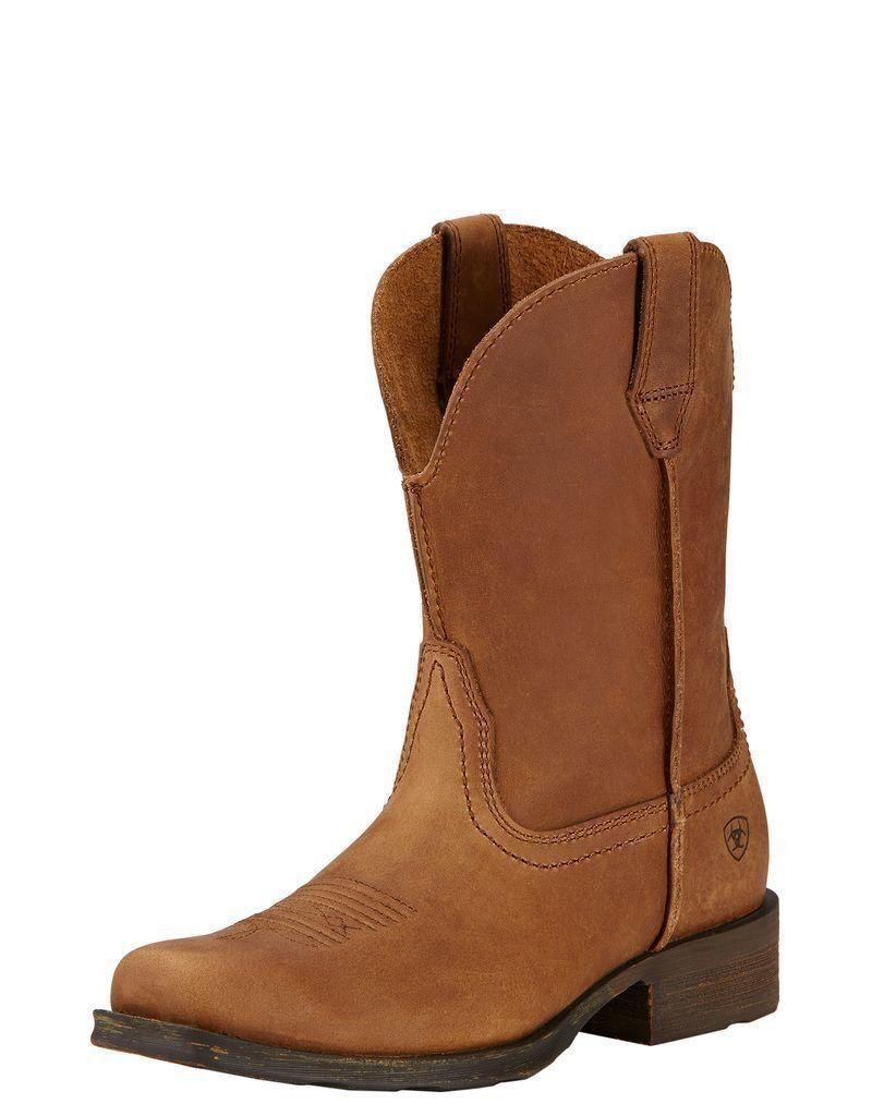 Ariat Wouomo Rambler Leather Cowboy Western stivali Duster Marronee 10017326 NIB