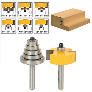 """New Cemented Carbide Rabbet Router Bits 1/4"""" Shank with 6 Adjustable Bearing 2Pc"""