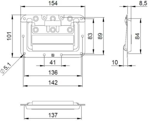 8 Klappgriffe 154x101mm Einbauschale Kistengriffe Boxengriffe Tragegriffe Griffe