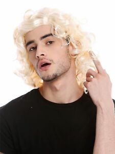 Perruque-Homme-Unisexe-Blonde-Boucle-Ligne-Longue-Arriere-Gigolo-70er-80er