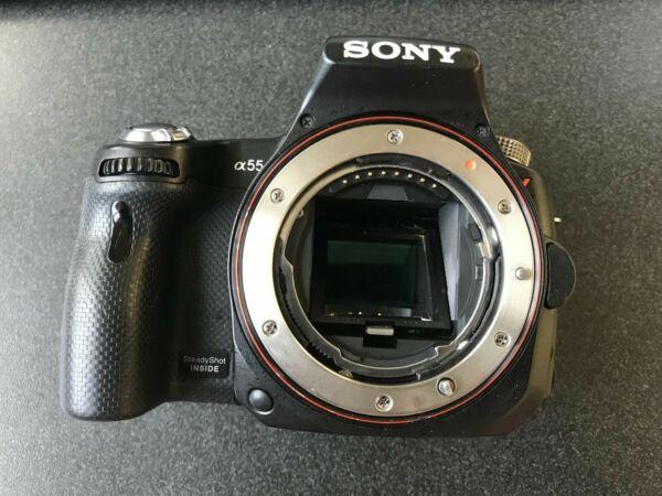 à Condition De Sony Slt-a55v 16.2mp Dslr Numérique Appareil Photo Noir