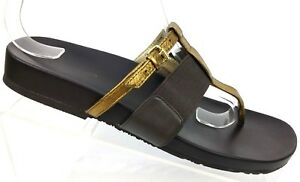 Simply-Vera-Vera-Wang-Dextrous-Brown-Gold-Thong-Slide-Sandals-Women-039-s-US-7-5M