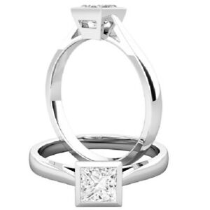 0.25 Ct Princess Moissanite Engagement Superb Rings 18K Solid White Gold Size 7